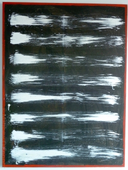 101 cm x 76cm Acrylic and gouache impasto on canvas, oil stick