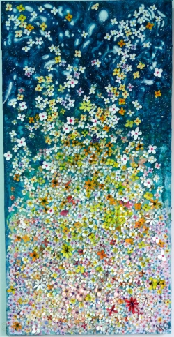 "Watercolour and gouache painted flowers on board covered with gouache- painted ""washi"" Japanese paper 90 cm x 45 cm x 2cm Submitted to the Luxembourg Art Prize, 2017"
